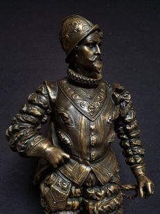 Large sculpture of Hendrik van Guise (1550-1588) in bronzed zamak - France - circa 1880