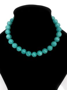 Necklace made of 14 mm faceted aquamarines - Natural shine, 925 silver clasp
