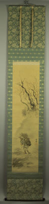 """Hand-painted scroll painting – """"Man in branched forest"""" – Japan – 1st half 20th century"""