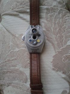 "Watch camera,""STEINECK ABC"", spy cam (1949), with brown fabric strap (rare and valuable)"
