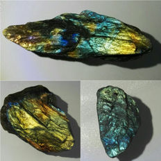 Excellent quality huge rough labradorite lot - 40mm - 84mm - 940ct (3)