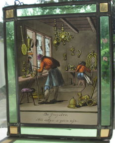 Two rectangular stained glass windows with images of crafts: a bronze caster and a potter, after Jan Luiken