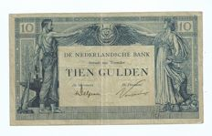 Netherlands - 10 guilders 1921 Arbeid en Welvaart II (labour and prosperity) - mevius 38-1b