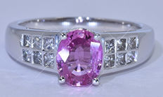 2.29 Ct Pink Sapphires with Diamonds, princess ring NO reserve price!