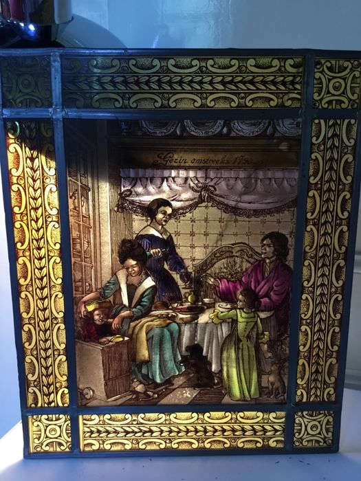 "Stained glass window, depicting a domestic scene in the Golden Age - titled ""Gezin omstreeks 1790"" (""Family about 1790"")"