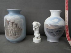 Royal Copenhagen and Bing & Grøndahl - two vases and a figurine