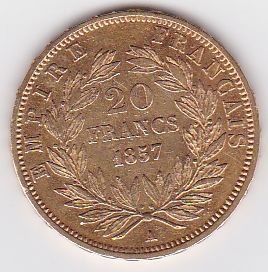 France - 20 francs 1857 A - Napoleon III - gold