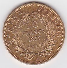 France - 20 francs 1857 A (Paris) - Napoleon III - Gold