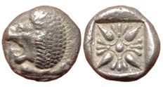 Greek Antiquity - Asia Minor, Ionia, Miletos - AR Diobol (Silver, 9mm; 1,15g), ca. late 6th-early 5th century BC - Lion / Incuse square - SNG Kayhan 476-81