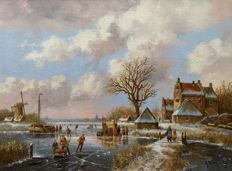 Albertus J. Temming (born 1942)) - Dutch winter landscape on the river with cook and soup.