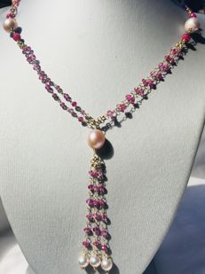 18 kt gold necklace with briolette cut rubies and pearls - size 52, excluding pendant
