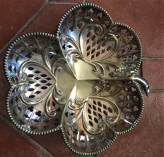 fine, openwork, English, silver plated metal bread basket