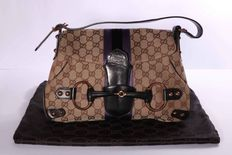Gucci Bag with Horse Stirrup on Front and Monogram with Satin Ribbon