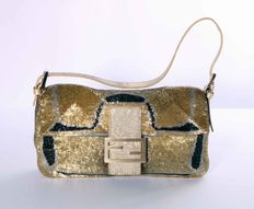 Fendi Baguette with Lizardskin Detail and Beads, Chinese Blue Satin Interior