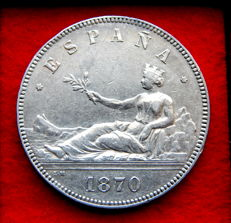 Spain - Provisional Government - 5 pesetas in silver, year 1870 *18-70 SNM