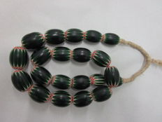 Necklace of Venetian chevron beads - different eras