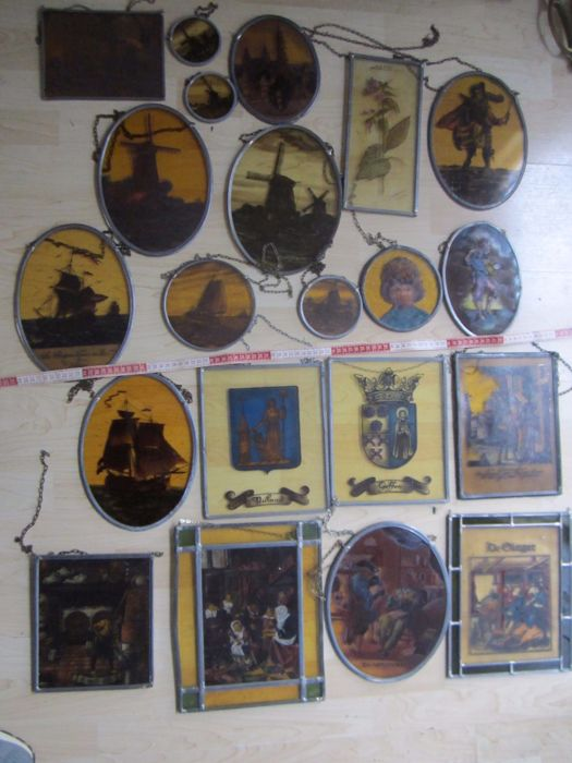 Twenty-one stained glass windows - partly stained - various themes mill landscape, trades, city coat of arms and ships