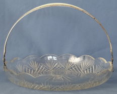 Antique fan cut crystal serving bowl with a silver handle