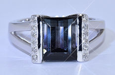 2.87 Ct Blue Tourmaline with Diamonds ring NO reserve price!