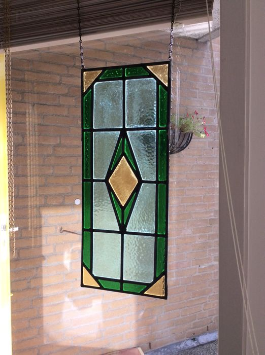 Art Deco-style stained glass window hanger (sun-catcher) with soft colours - mid 20th century.