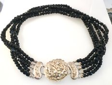 Antique necklace with black jet stones and antique, silver clasp - Length: 41 cm