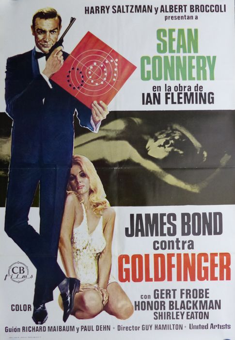 James Bond 007 - Goldfinger, Thunderball, Diamonds are forever, Moonraker - 4 Spanish Posters - Sean Connery, Roger Moore