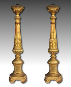 A Pair of gilt wood torchères - Empire period - Tuscany, Italy - early 19th century
