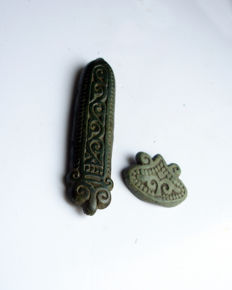Viking bronze zoomorphic belt decorations (x2)