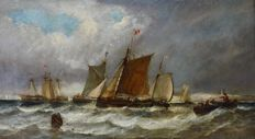 H Walters. (19th century) - Shipping in a fresh breeze off the coast.