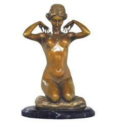 Jugendstil bronze nude - signed Paul Ponsard - New Necklace