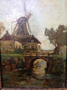 Pieter't Hout (1879-1965)  -  Windmill, figure, bridge and river