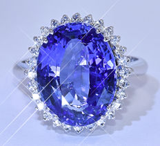 9.43 Ct Unheated Sapphire with Diamonds ring NO reserve price!