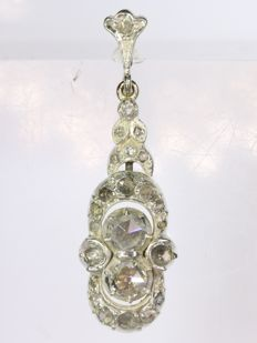 Enchanting yellow gold Victorian pendant with diamonds encrusted in silver top - 1860