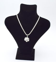 925 Italian sterling silver chain with  Tiger head pendant   - 60  cm