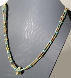 Egyptian New Kingdom faience bead and amulet necklace- 534mm length approximately