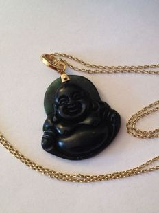 14 kt Gold necklace with vintage Jadeite jade Buddha pendant, from Burma