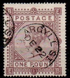 Great Britain, queen Victoria - £1 Brown Lilac, Stanley Gibbons 129