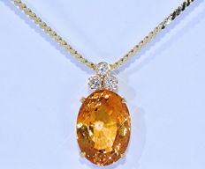 17.54 Ct Citrine with Diamonds, necklace NO reserve price!