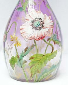 Legras & Cie - Large Art Nouveau vase with enamelled floral decor