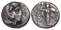 The Greek Antiquity - Asia Minor, Mysia, Pergamon c. 310-282 BC - AR Diobol (Silver, 11mm, 1,18g.) - Head of Herakles / Athena Promachos - SNG Kayhan 64; SNG Cop 317 ff.