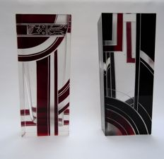 Karl Palda - Two cut vases with red and black geometric decor