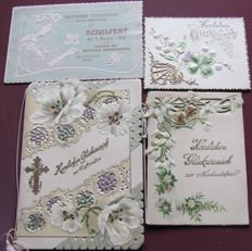 from 1896 onward rare collection of German embossed cards mainly folded cards for different occasions, beautiful embossed cards