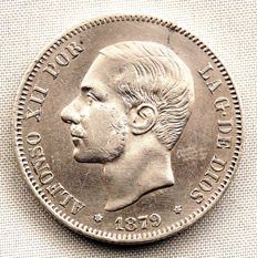 Spain - Alfonso XII - 2 Pesetas silver coin - 1879 - Madrid