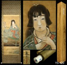 "Hanging scroll by Irai 威来 - ""Beauty"" - Japan - Early 20th century (Taisho Period) w/box"