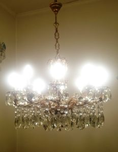 Brass Rococo 10 Lights Cherub Crystal Chandelier, 20th century