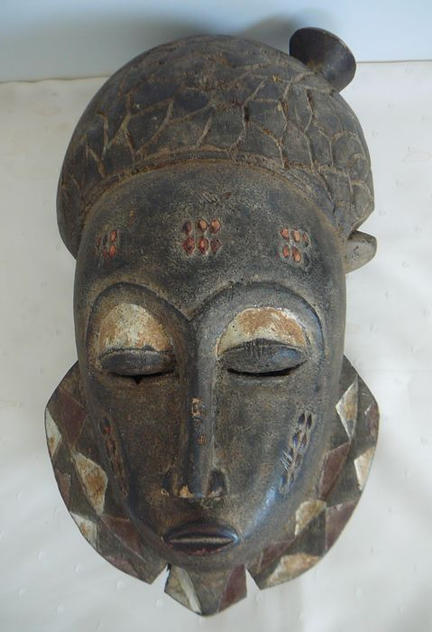 African wooden facial mask - BAULE - Ivory Coast
