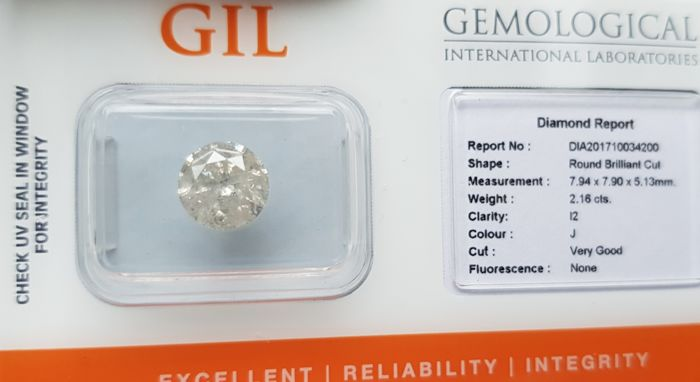 2.16 ct Natural Diamond - J Color,  I-2 - *NO RESERVE*
