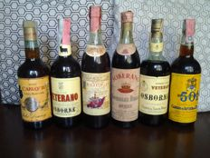 6 Very old bottles of Brandy: Felipe II - Soberano - Carlos III - n. 2 Osborne - 501 - Total n. 6 bottles