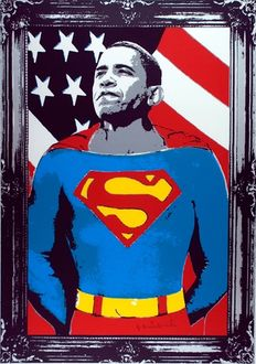 "Mr Brainwash - ""Obama Superman"" (zilver)"