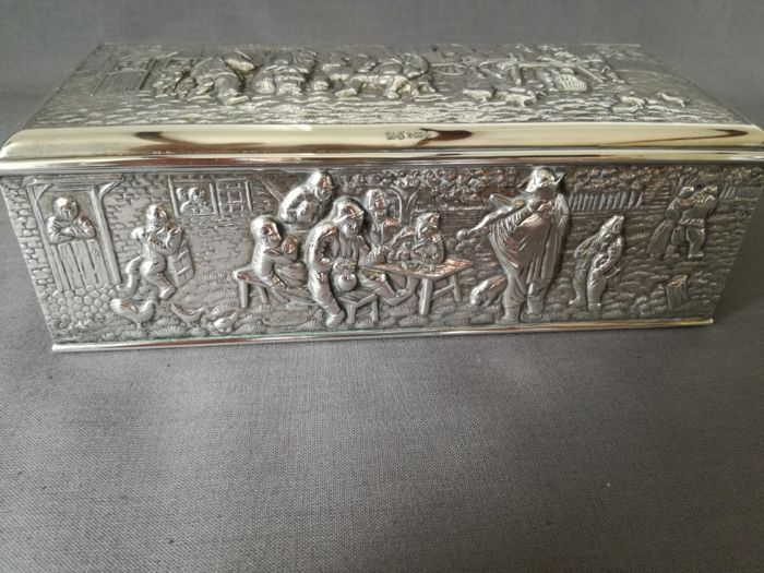 Antique, Dutch silver plated jewellery box